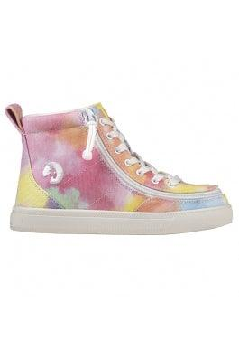 BILLY Footwear Kids Classic Lace High - Sherbert Tie Dye Printed Canvas
