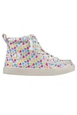 BILLY Footwear Kids Classic Lace High - Hearts White Printed Canvas