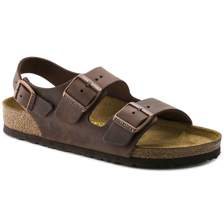 Men's Birkenstock Milano Oiled Leather Sandals - Habana