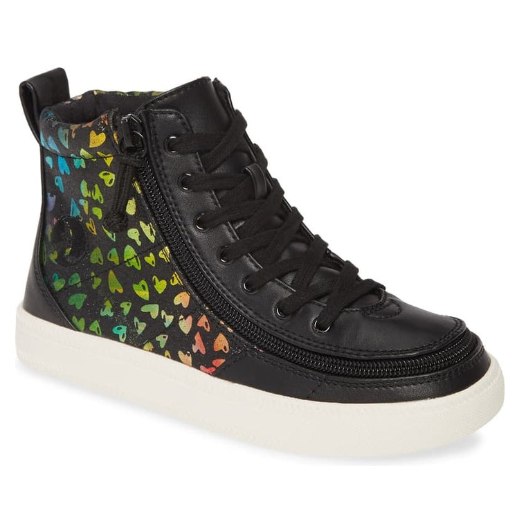 Kids' BILLY Footwear Classic Lace Zip High Top - Black Hearts Print