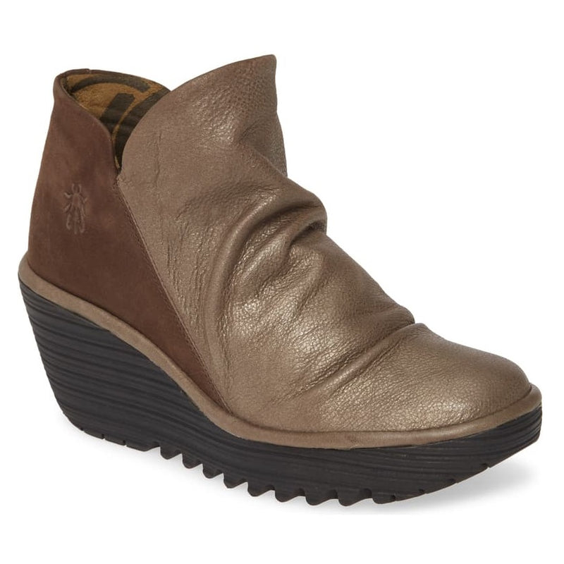 Women's Fly London Yip Wedge Bootie - Grey Janeda/Ranch