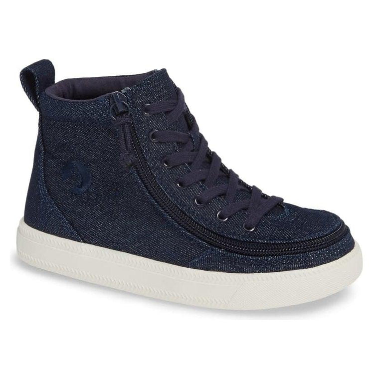 Kids' BILLY Footwear Classic Lace Zip High Top - Blue Denim Glitter