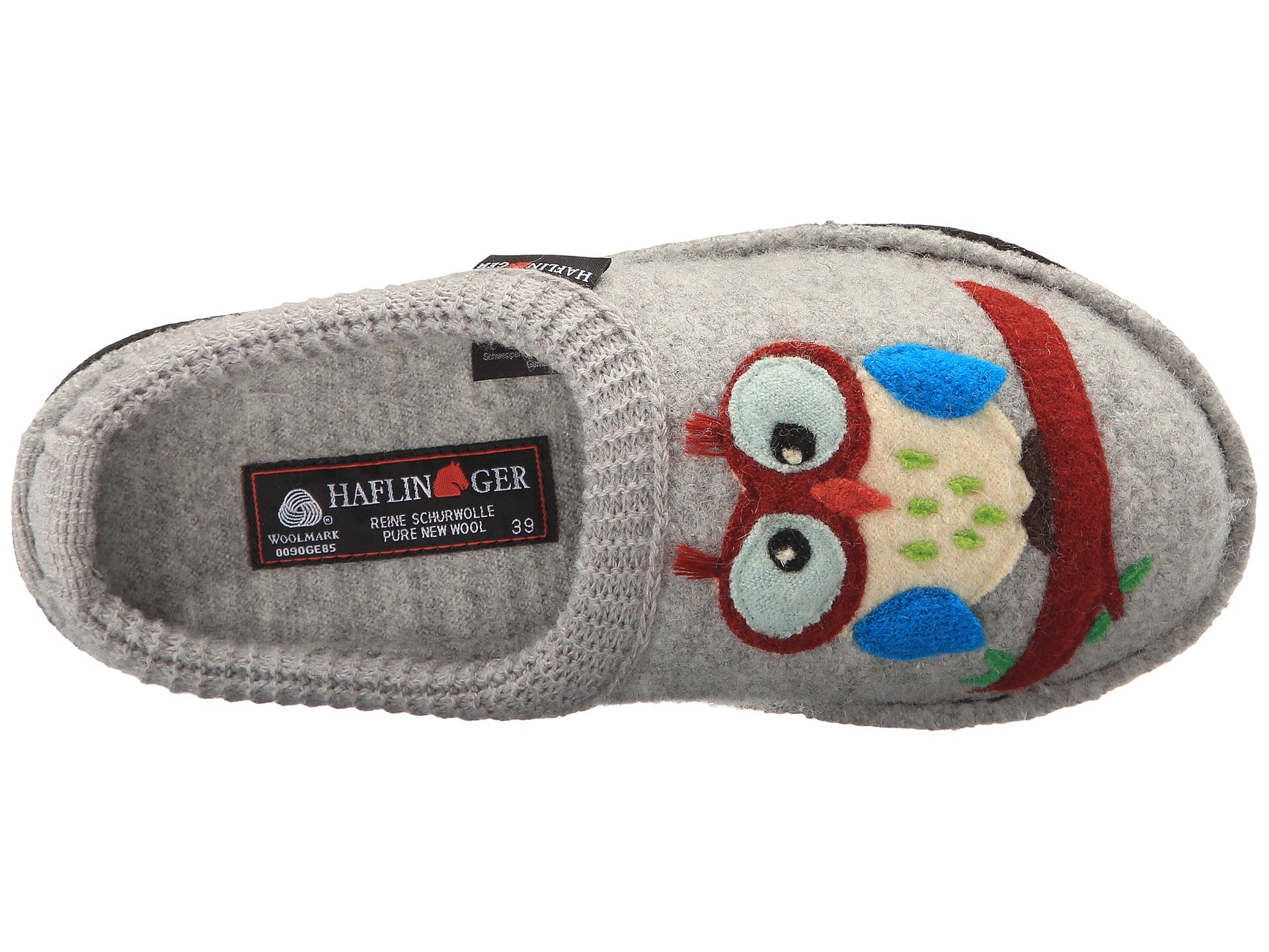 5f1e4040d23 ... Haflinger Olivia Owl Boiled Wool Soft Sole Slippers - Silver Grey ...