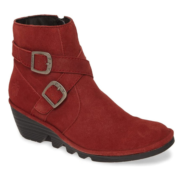 Women's Fly London Perz Wedge Bootie - Red Ranch Leather