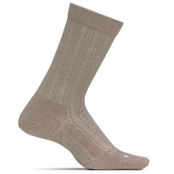 Feetures Women's Texture Ultra Light Crew Socks - Oatmeal