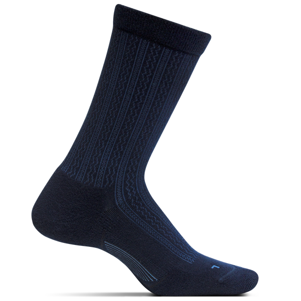Feetures Women's Texture Ultra Light Crew Socks - Navy
