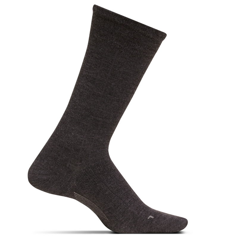 Feetures Men's Wide Rib Ultra Light Crew Socks - Brown