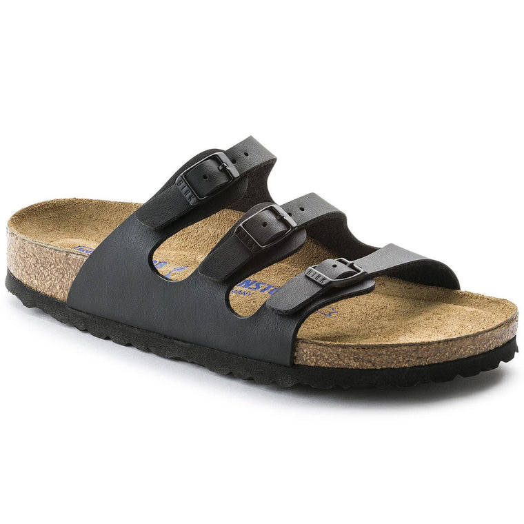 Women's Birkenstock Florida Soft Footbed Sandals - Black Birko-Flor