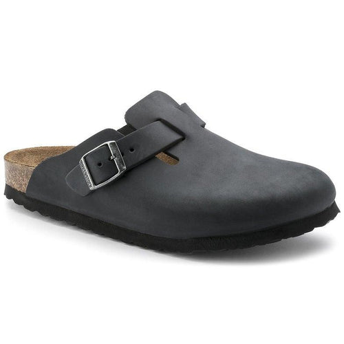 Unisex Boston Clog - Black Oiled Leather