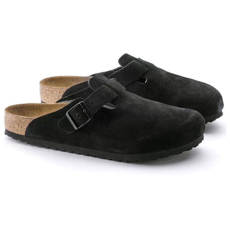 Women's Birkenstock Boston Soft Footbed Clog - Black Suede