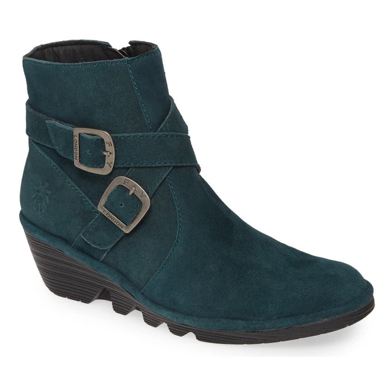 Women's Fly London Perz Wedge Bootie - Dark Petrol Ranch Leather