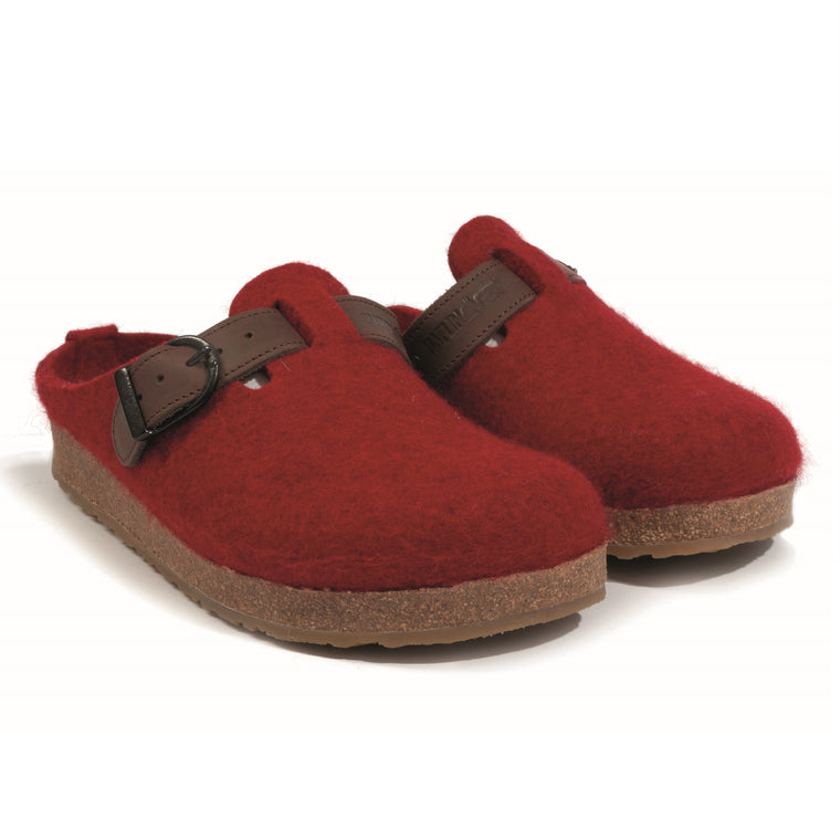 Women's Haflinger GZB Boiled Wool Grizzly Clog - Chili Red