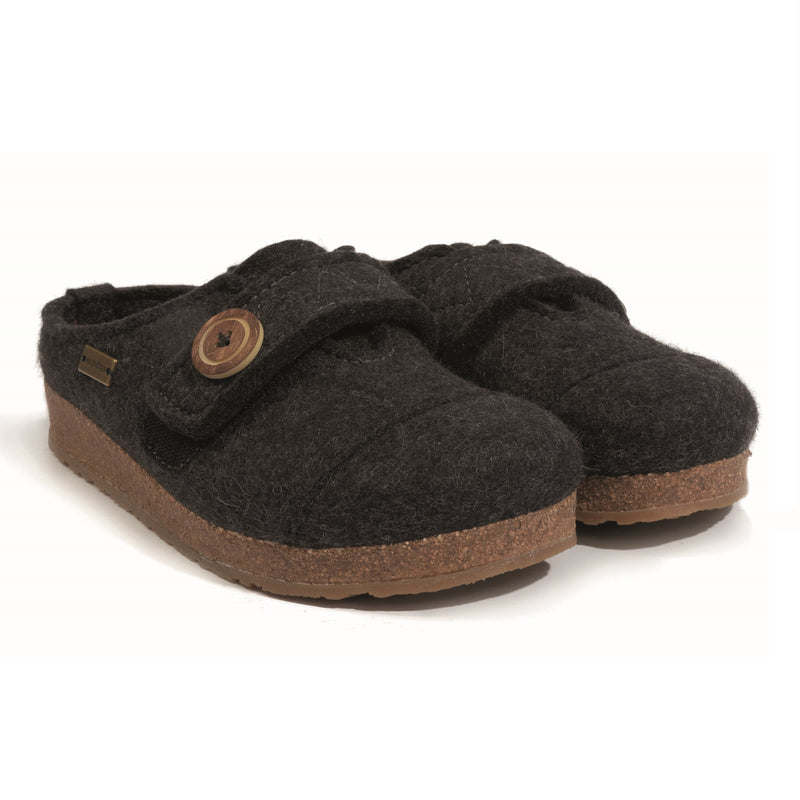 Haflinger Women's Hanna Boiled Wool Adjustable Clog - Charcoal