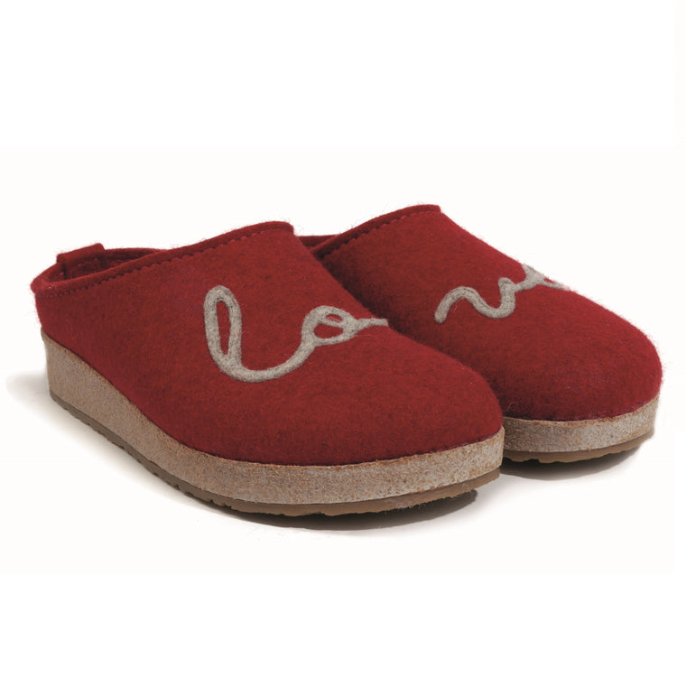 Haflinger Women's Lovely Boiled Wool Love Clog - Chili Red