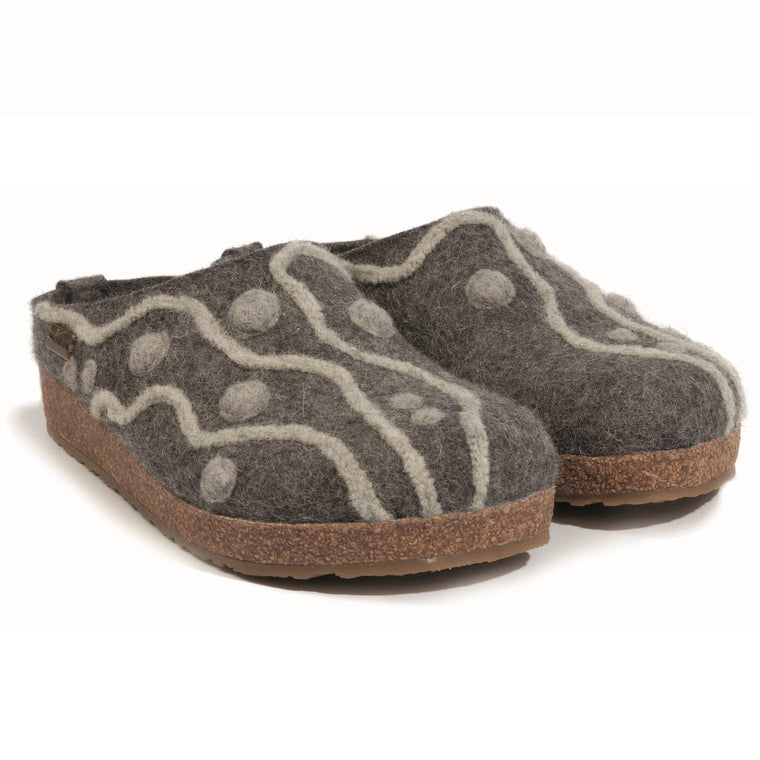 Haflinger Women's Helena Boiled Wool Clog - Grey