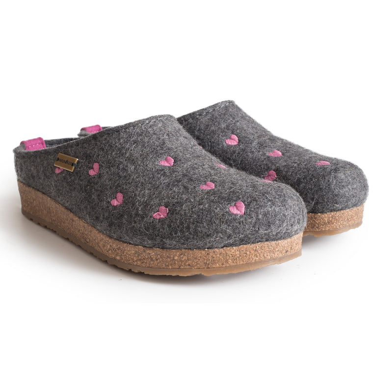 Haflinger Women's Cuoricini Boiled Wool Hearts Clog - Grey