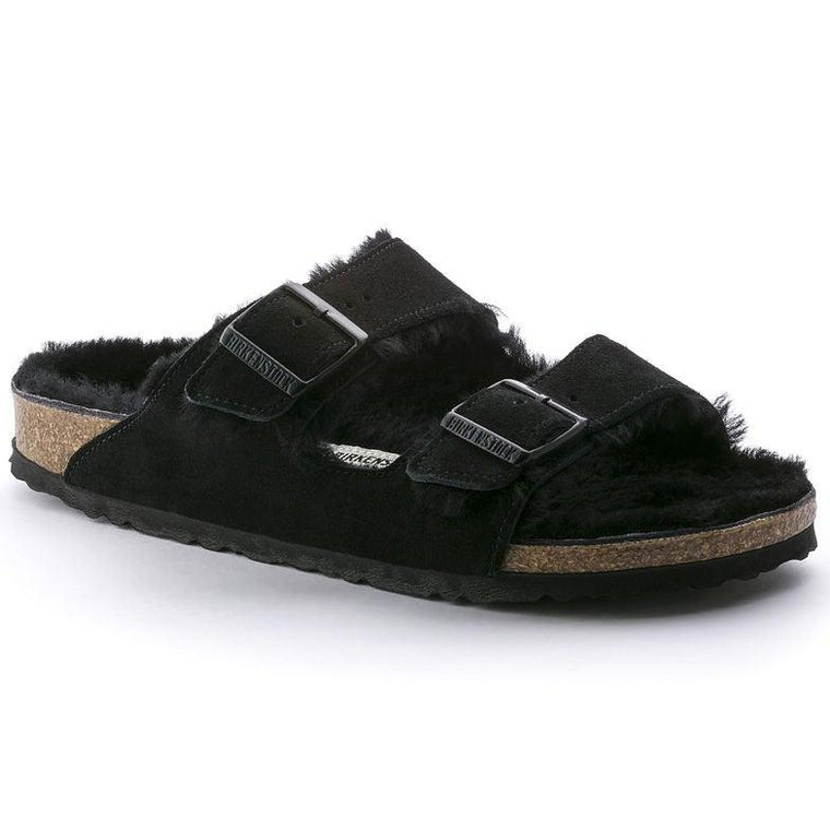 Unisex Birkenstock Arizona Black Suede Shearling Sandals