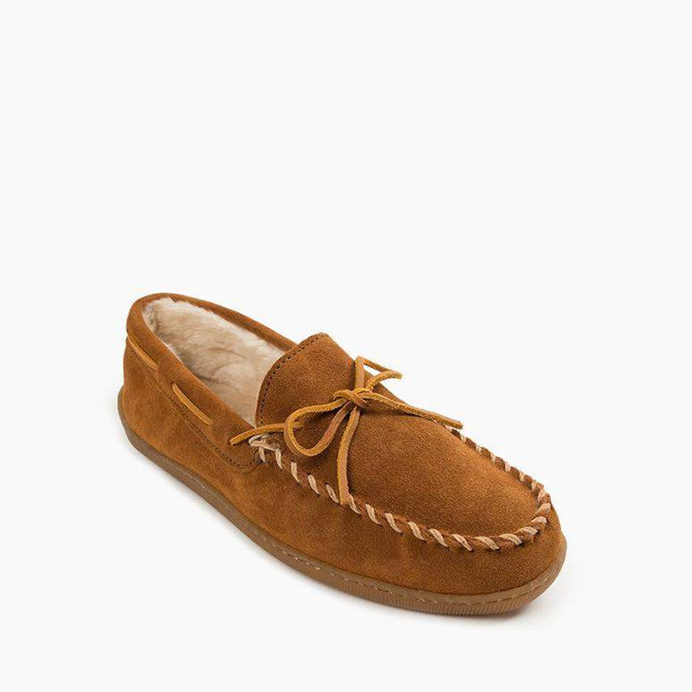 Men's Minnetonka Piled Lined Hardsole Slippers - Brown