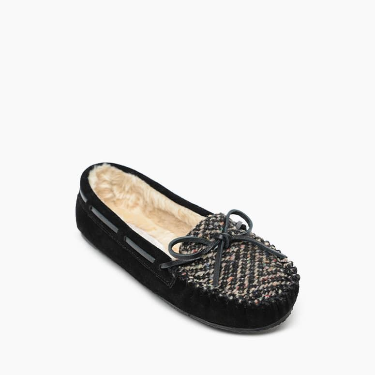 Women's Minnetonka Fabric Cally Moc Slipper - Black