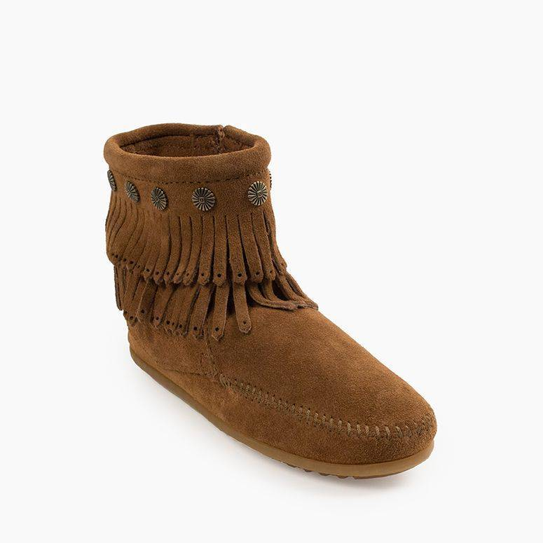 Women's Minnetonka Double Fringe Side Zip Boot - Dusty Brown