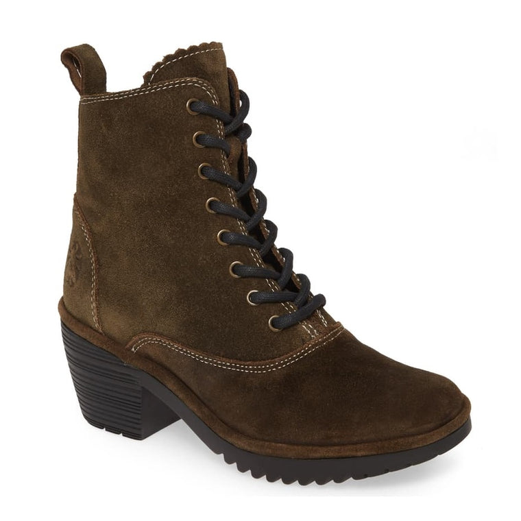 Women's Fly London Wune Lace-Up Bootie - Sludge Oil Suede