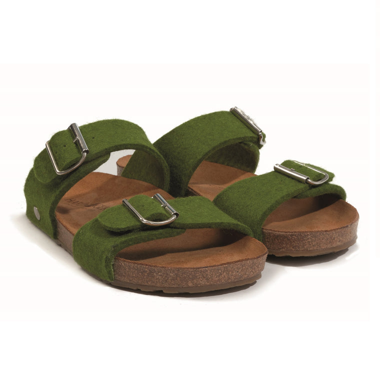 Haflinger Women's Anabel Boiled Wool Sandal - Green