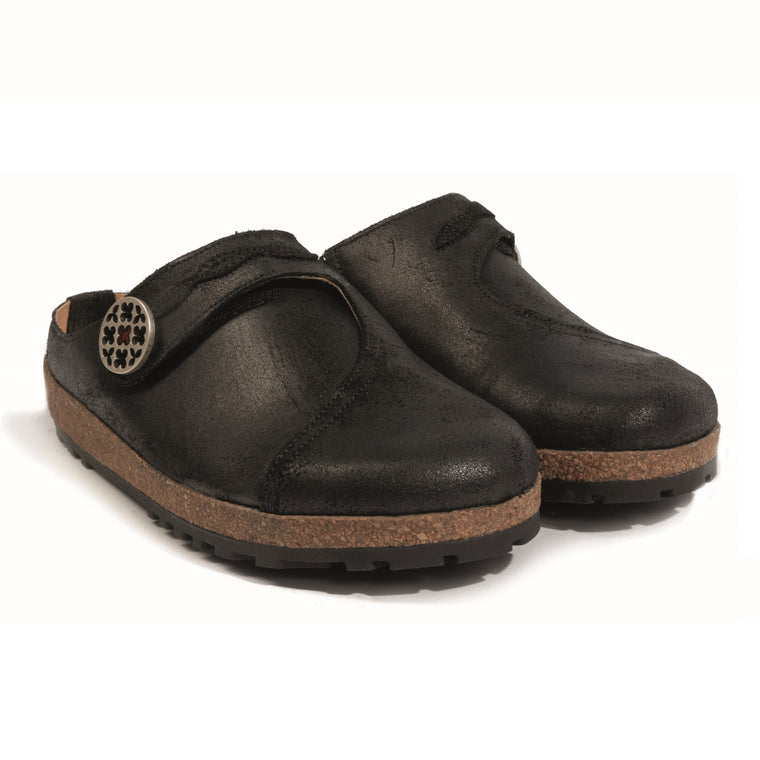 Haflinger Women's Adventure Leather Clog - Black