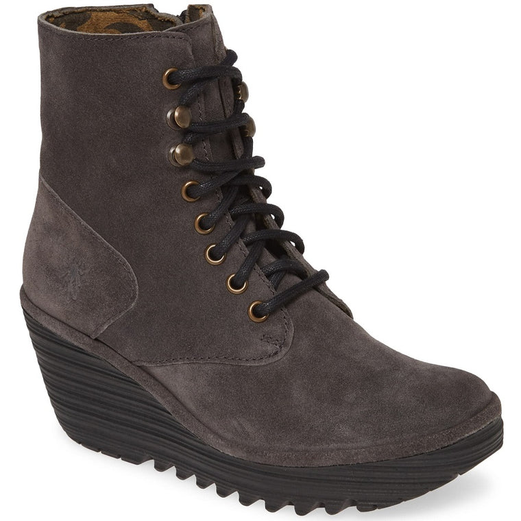 Women's Fly London Ygot Wedge Bootie - Diesel Oil Suede