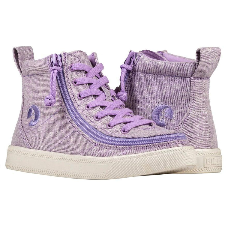 Kids BILLY Footwear Classic Lace High - Lilac Lurex Canvas