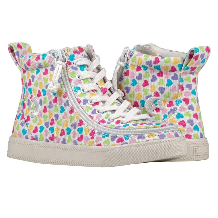 Kids BILLY Footwear Classic Lace High - Hearts White Printed Canvas