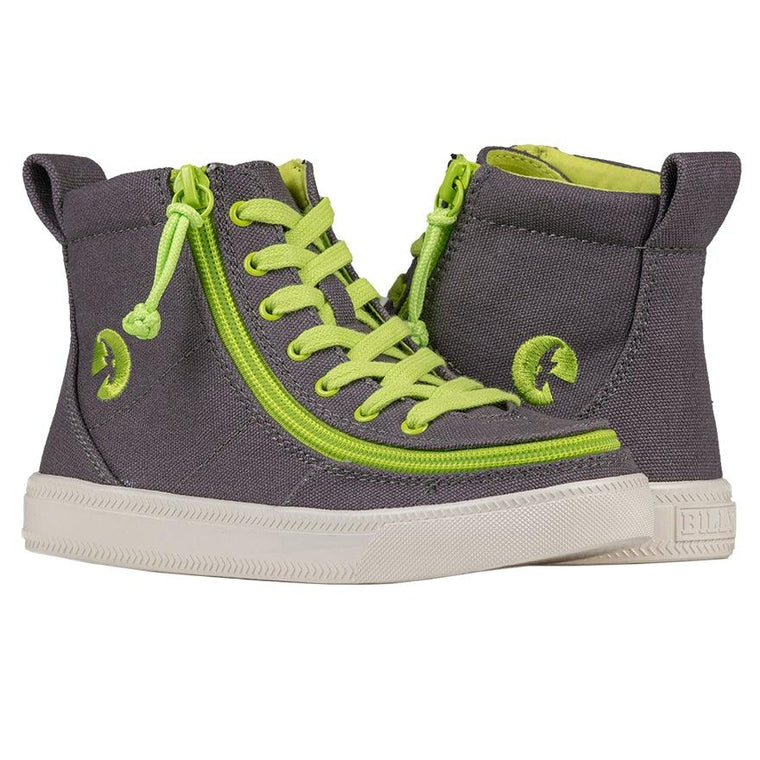 Kids BILLY Footwear Classic Lace High - Charcoal/Acid Green Canvas