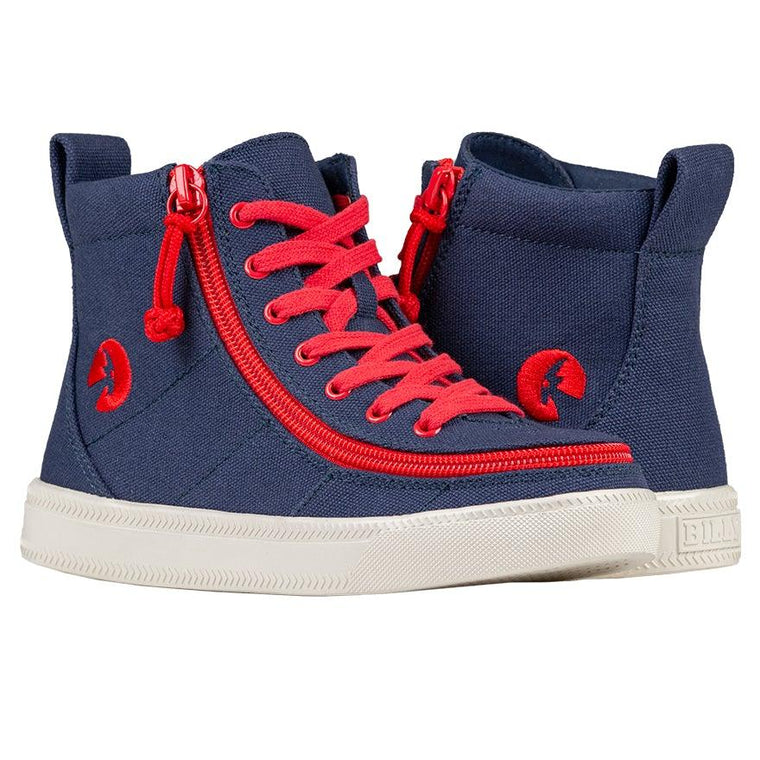 Kids BILLY Footwear Classic Lace High - Navy/Red Canvas