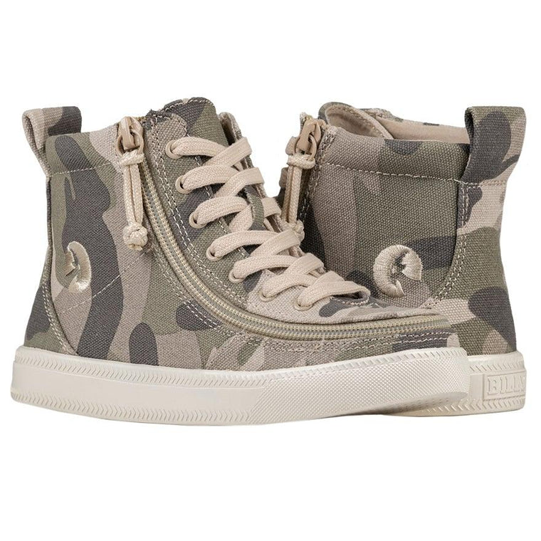 Kids BILLY Footwear Classic Lace High - Natural Camo Printed Canvas