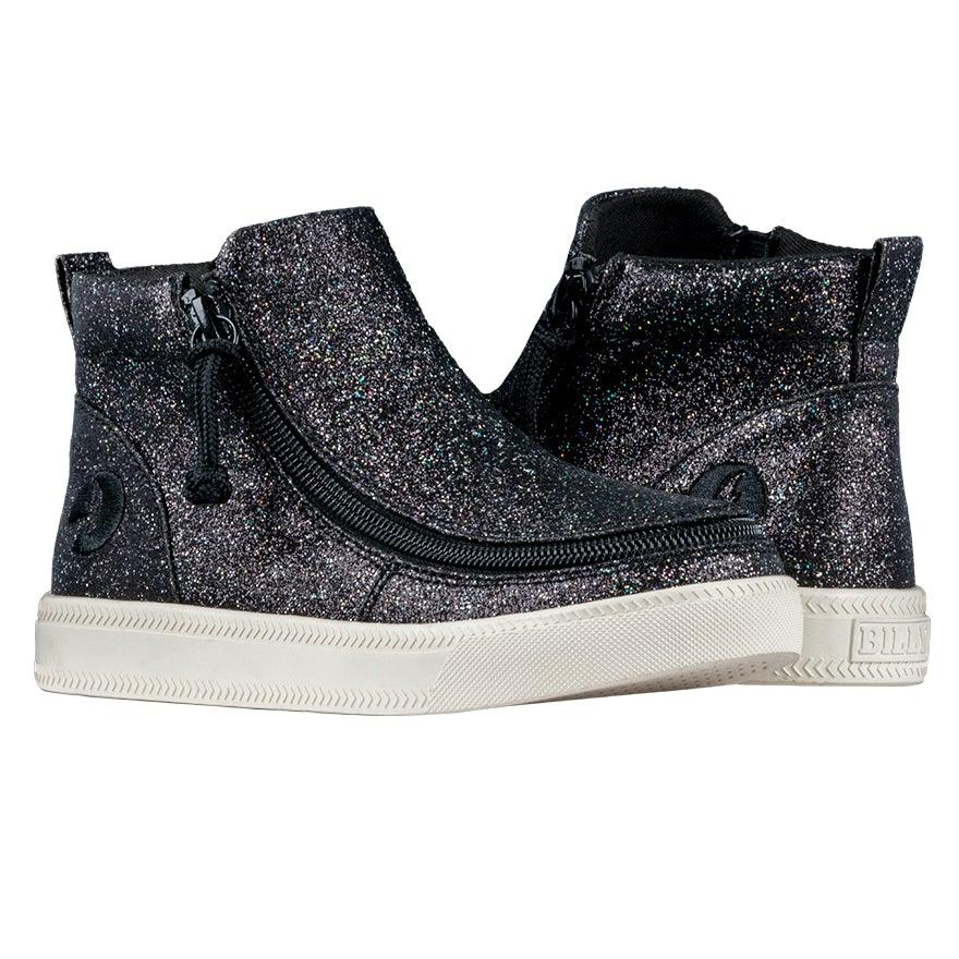 BILLY Footwear Kids Mid Top Zip - Black Glitter