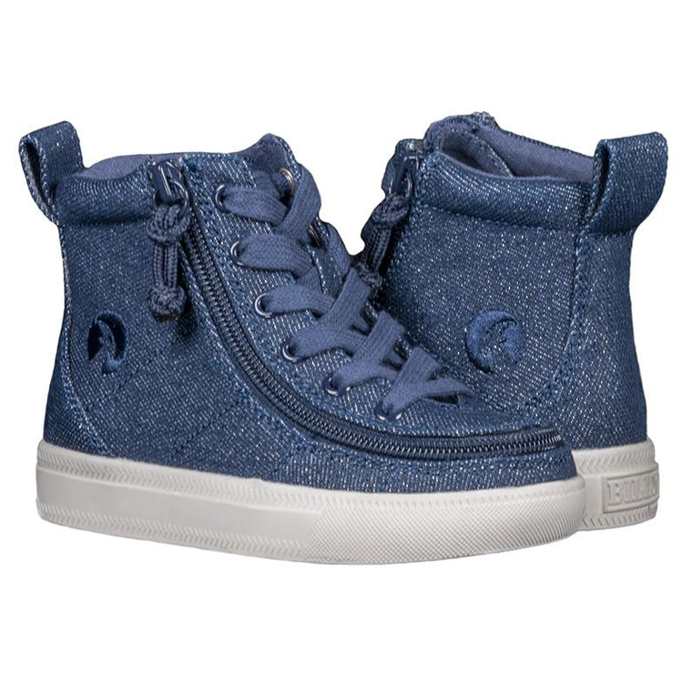 Toddler BILLY Footwear Classic Lace High - Blue Denim Glitter