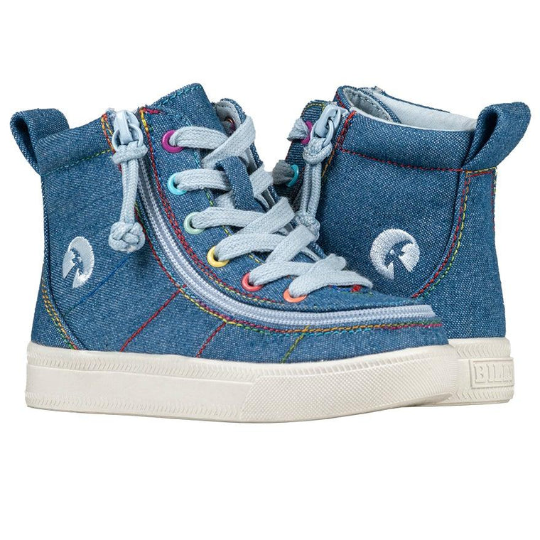 Toddler BILLY Footwear Classic Lace High - Denim Rainbow Thread