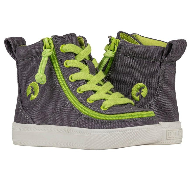 BILLY Footwear Toddler Classic Lace High - Charcoal/Acid Green