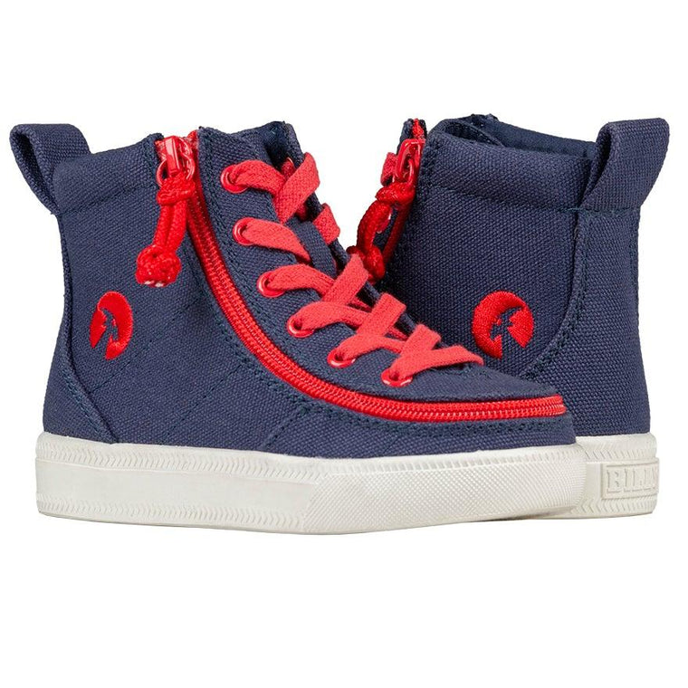 Toddler BILLY Footwear Classic Lace High - Navy/Red
