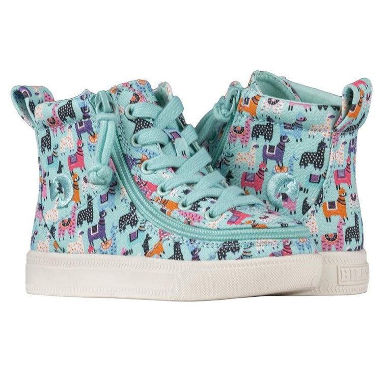 BILLY Footwear Toddler Classic Lace High - Mint Llamas