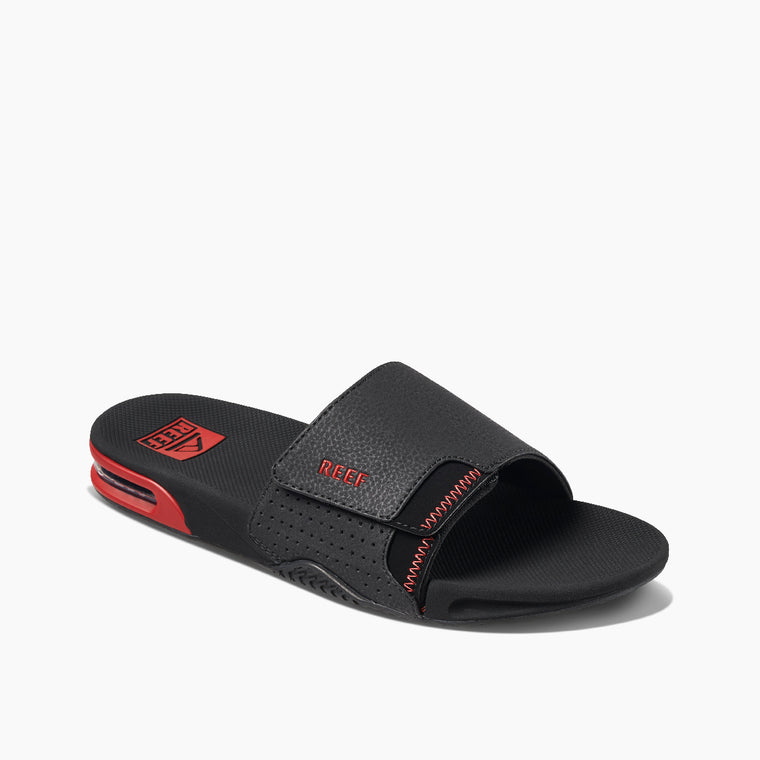 Reef Men's Fanning Slide Sandals - Black/Red