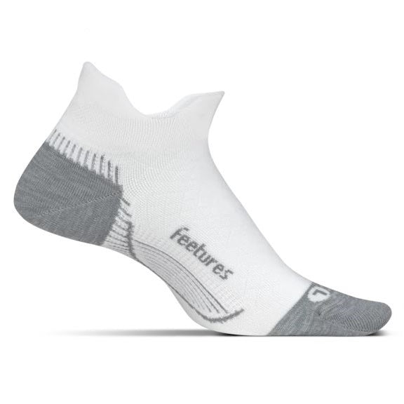 Feetures Plantar Fasciitis Relief Sock Light Cushion No Show Tab - White