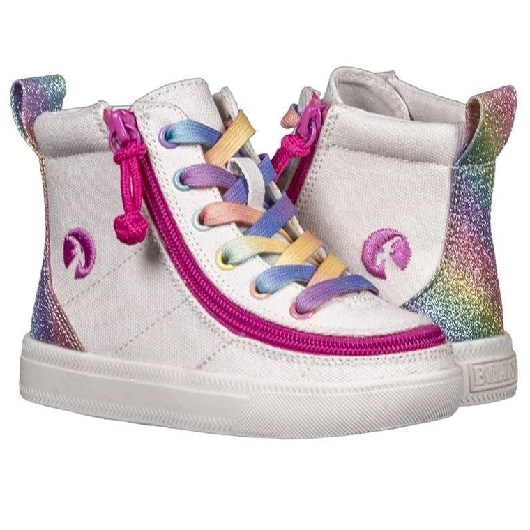 Toddler BILLY Footwear Classic Lace Zip High Top - White Rainbow
