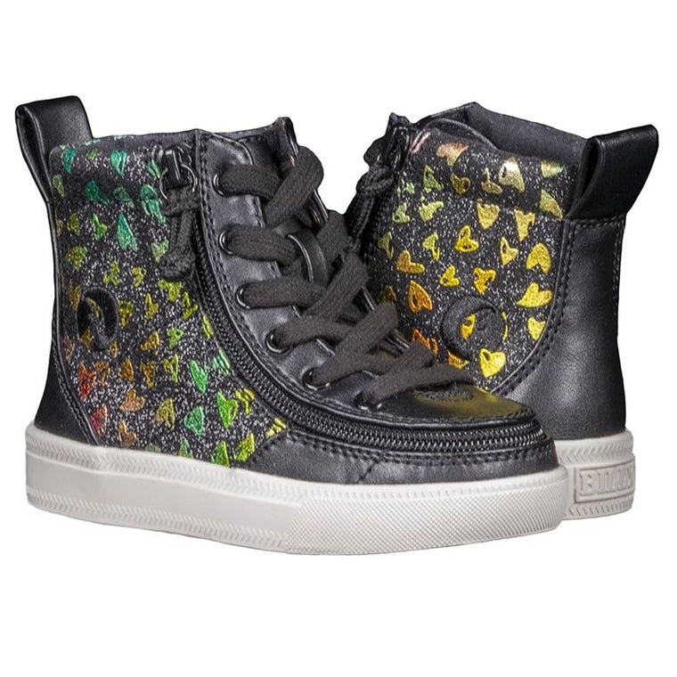 Toddler BILLY Footwear Classic Lace Zip High Top - Black Hearts Print
