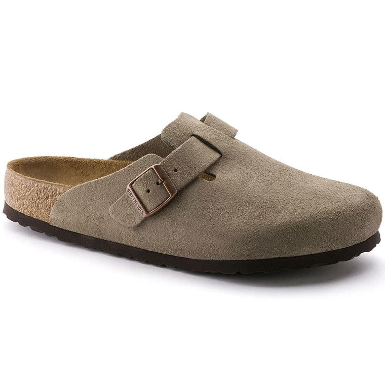 Women's Birkenstock Boston Soft Footbed Clog - Taupe Suede