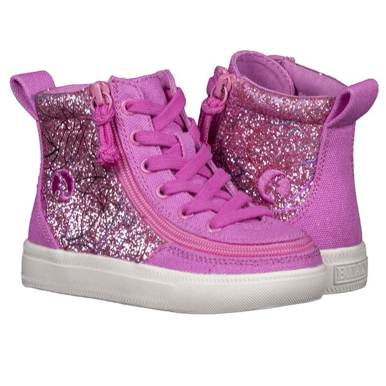 Toddler BILLY Footwear Classic Lace Zip High Top - Pink Print