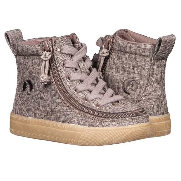 Toddler BILLY Footwear Classic Lace Zip High Top - Brown Jersey Linen