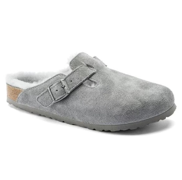 Women's Birkenstock Boston Shearling Suede Clog - Dove Gray