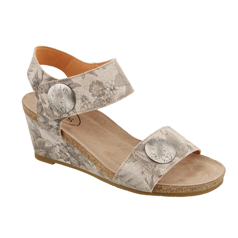 Women's Taos Carousel 2 Wedge Sandal in Stone Floral