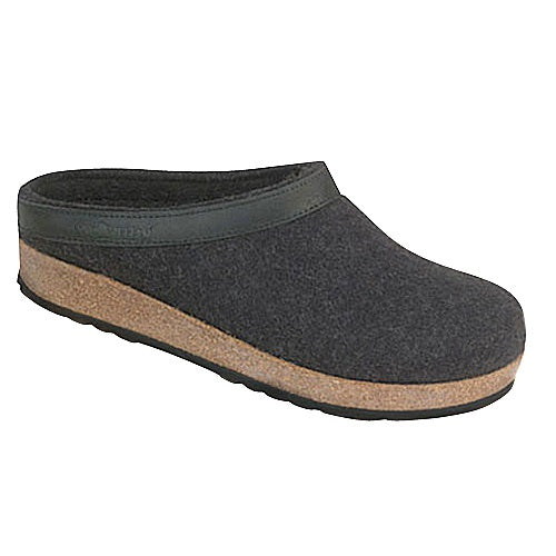2521a1e691b Haflinger GZL44 Leather Trim Grizzly Boiled Wool Clog Slippers ...