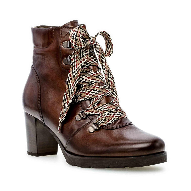 Gabor Women's Lace-Up Heel Ankle Boots 35.542.24 - Brown Leather
